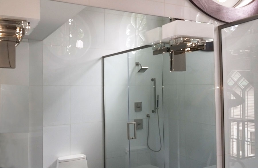 Vanity Lights Installed On Mirror : Advance Glass, Custom Shower & Bath Glass Glass Showers & Custom Glass Projects